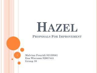 Hazel Proposals For Improvement