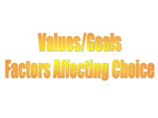 Values/Goals Factors Affecting Choice
