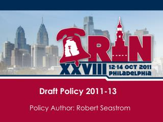 Draft Policy 2011-13