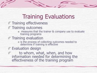 Training Evaluations