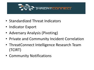 Standardized Threat Indicators Indicator Export Adversary Analysis (Pivoting)