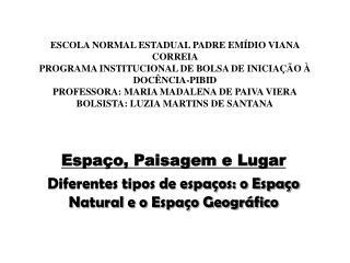Espaço, Paisagem e Lugar Diferentes  tipos de espaços: o Espaço Natural e o Espaço Geográfico