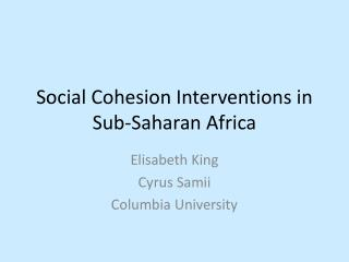 Social Cohesion Interventions in Sub-Saharan Africa