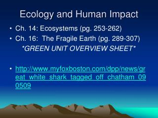 Ecology and Human Impact