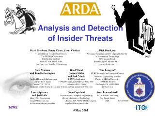 Analysis and Detection  of Insider Threats
