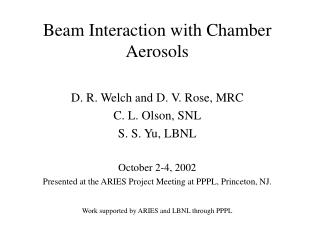 Beam Interaction with Chamber Aerosols
