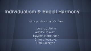 Individualism  & Social Harmony