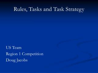 Rules, Tasks and Task Strategy