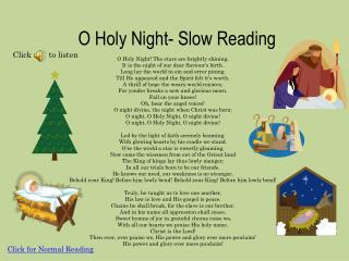 O Holy Night- Slow Reading