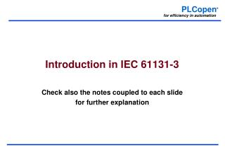 Introduction in IEC 61131-3