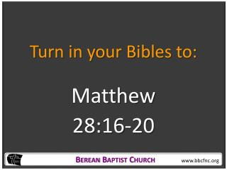 Turn in your Bibles to: