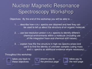 Nuclear Magnetic Resonance Spectroscopy Workshop