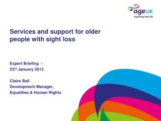 Services and support for older people with sight loss