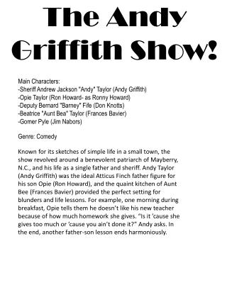 The Andy Griffith Show!
