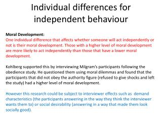 Individual differences for independent behaviour