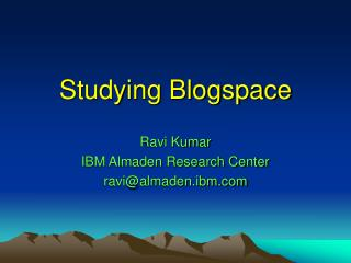 Studying Blogspace