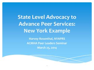 State Level Advocacy to Advance Peer Services:  New York Example