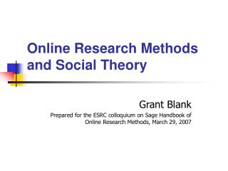 Online Research Methods and Social Theory
