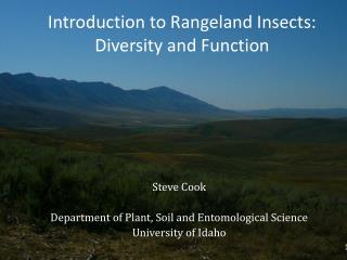 Introduction to Rangeland Insects: Diversity and Function