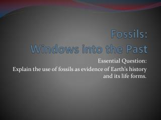 Fossils:  Windows into the Past