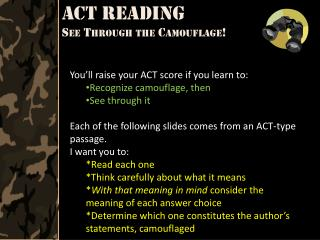 ACT Reading  See Through the Camouflage!