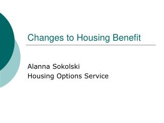 Changes to Housing Benefit