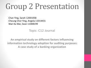 Group 2 Presentation