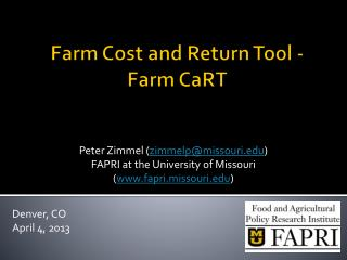 Farm Cost and Return Tool - Farm  CaRT