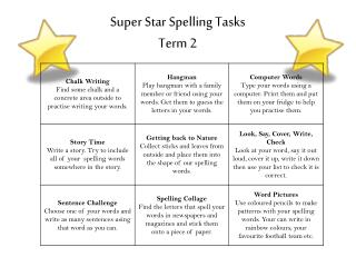 Super Star Spelling Tasks Term 2