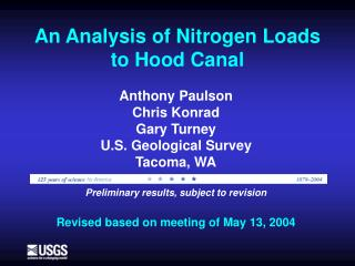 An Analysis of Nitrogen Loads to Hood Canal