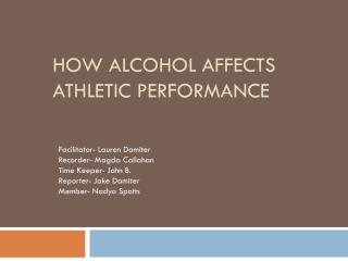 How alcohol affects athletic performance