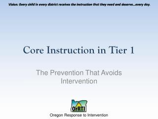 Core Instruction in Tier 1