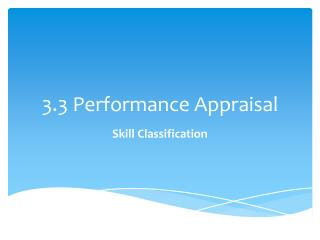 3.3 Performance Appraisal