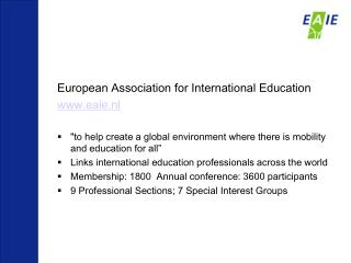 European Association for International Education eaie.nl
