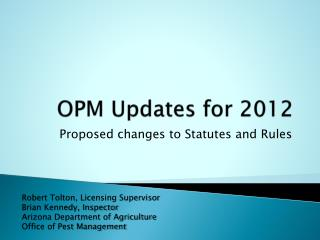 OPM Updates for 2012