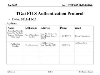 TGai  FILS  Authentication Protocol