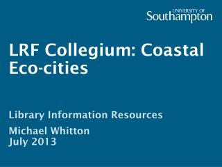 LRF Collegium: Coastal Eco-cities