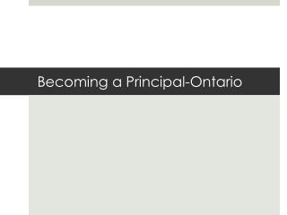 Becoming a Principal-Ontario