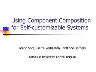 Using Component Composition for Self-customizable Systems