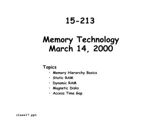 Memory Technology March 14, 2000