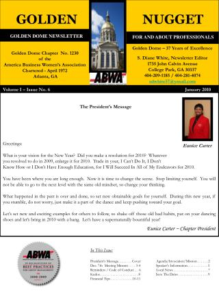GOLDEN DOME NEWSLETTER