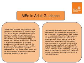 MEd in  Adult Guidance