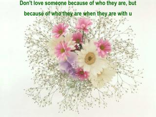 Don't love someone because of who they are, but because of who they are when they are with u