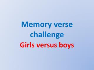Memory verse challenge