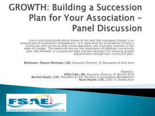 GROWTH: Building a Succession Plan for Your Association - Panel Discussion