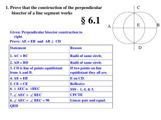 1. Prove that the construction of the perpendicular bisector of a line segment works
