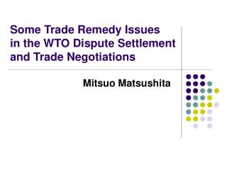 Some Trade Remedy Issues  in the WTO Dispute Settlement and Trade Negotiations