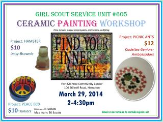 Girl Scout Service unit #605 Ceramic Painting Workshop