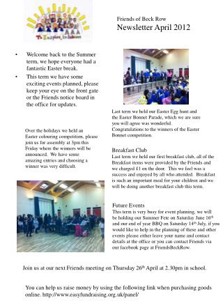 Friends of Beck Row Newsletter April 2012