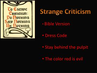 Strange Criticism